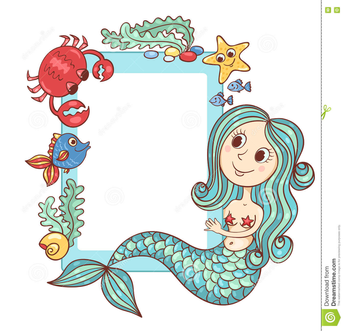 Sea Blue Frame With The Mermaid And Marine Animals Stock Vector ...