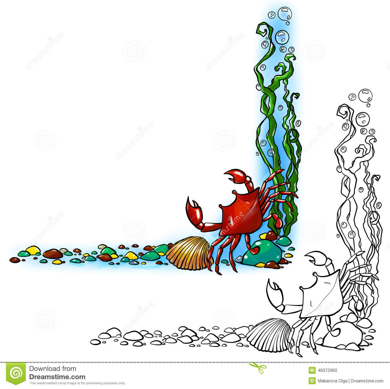Sea border with crab and shell