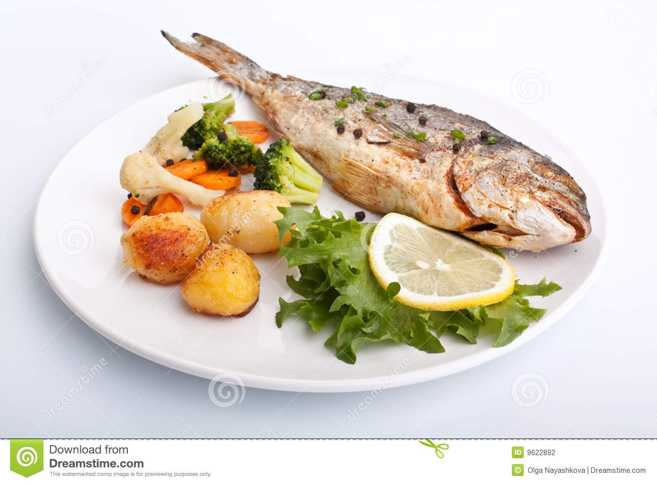 Sea bream fish with vegetables stock photography image for Fish with vegetables