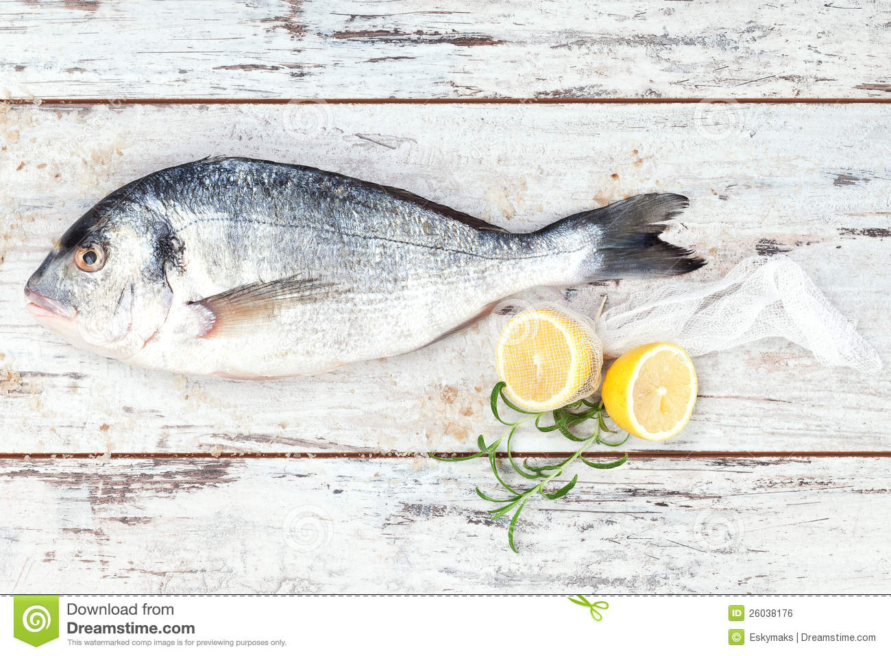 Sea Bream On White Wooden Background. Royalty Free Stock Image - Image ...