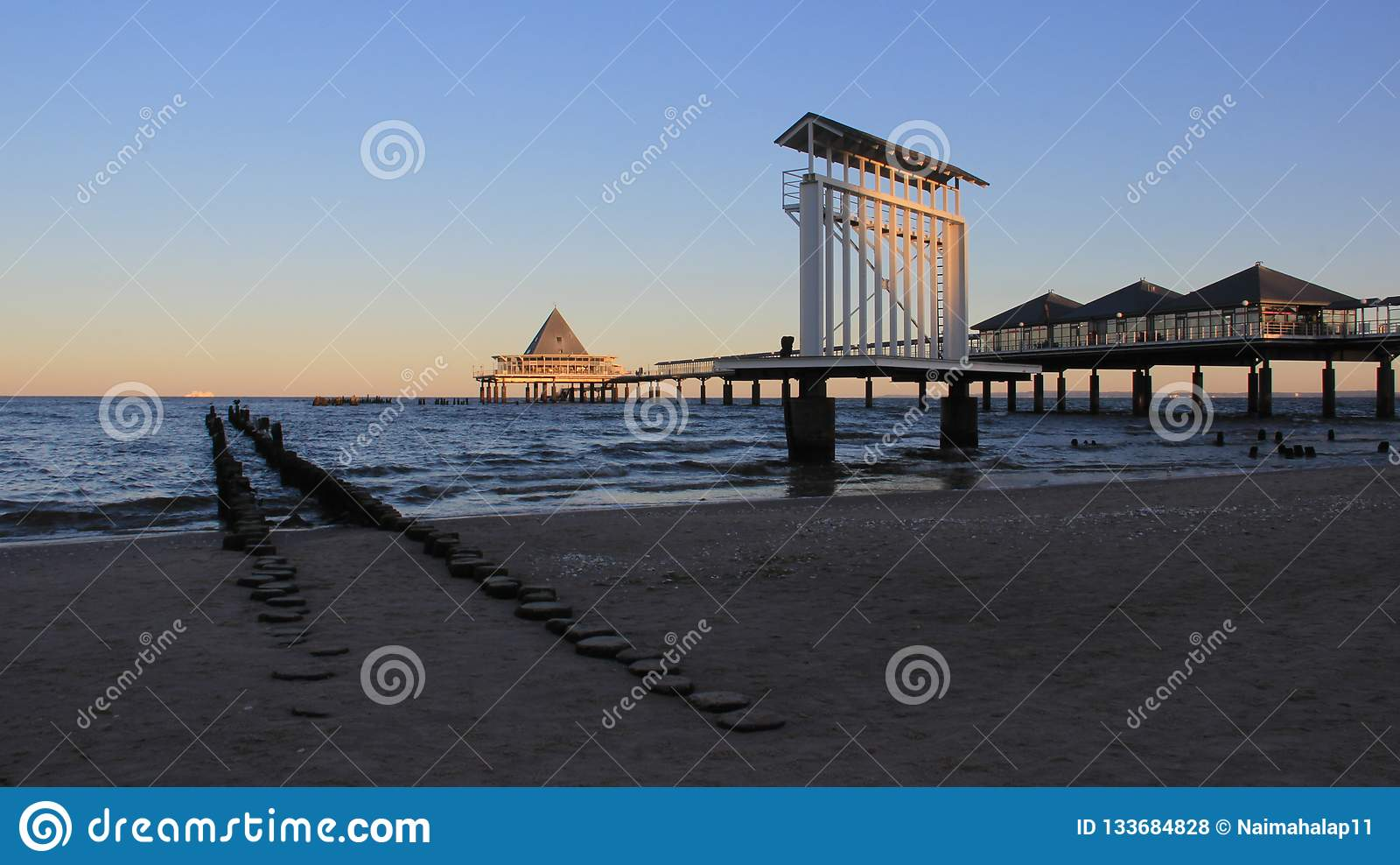 View Of Long Sea Bridge On Baltic Seaside