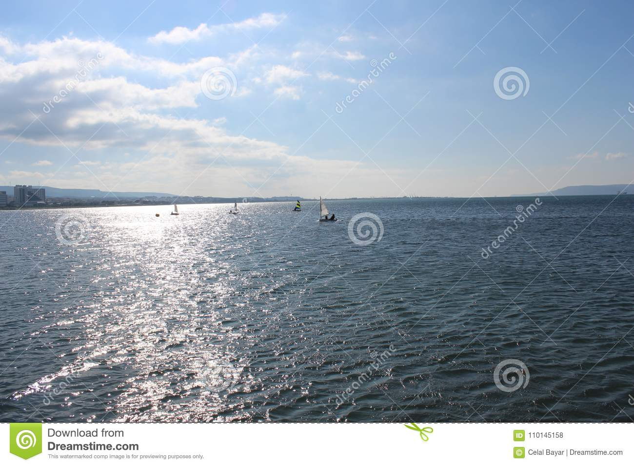 Download Sea and calm skies stock photo. Image of historic, historical - 110145158