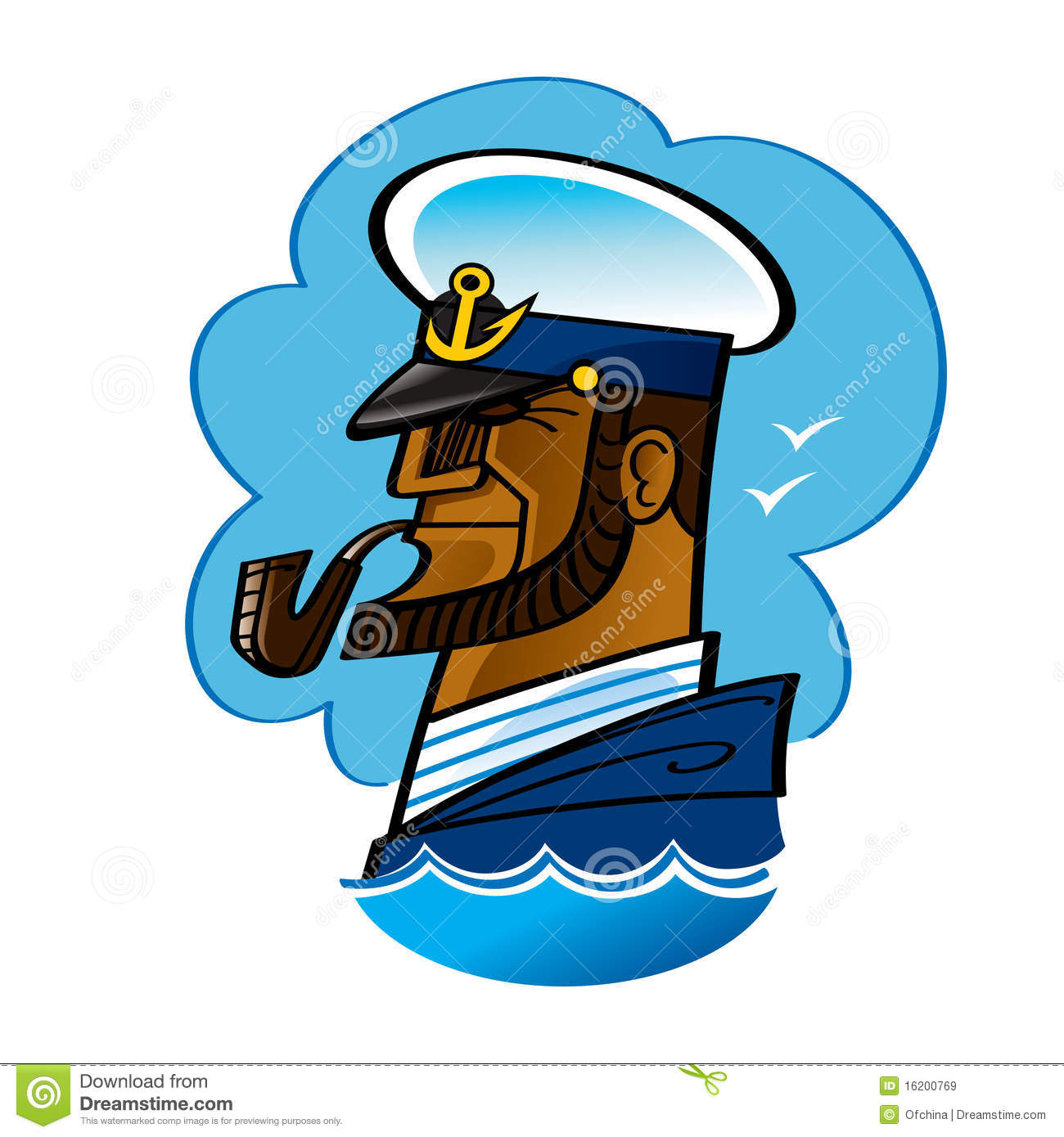 Sea Captain - waves, blue sky and brave man with smoking pipe.