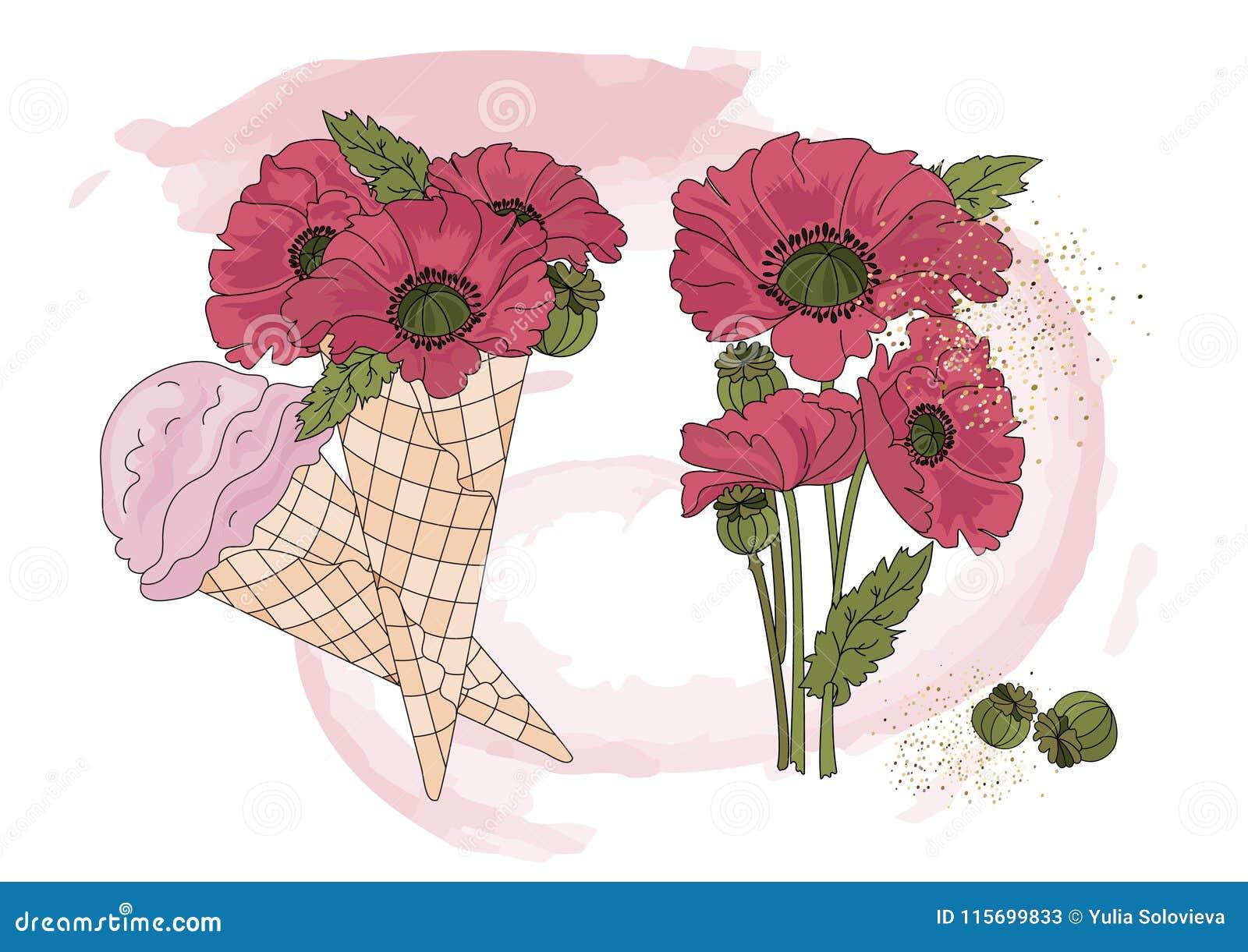 Flower Clipart Poppy Ice Cream Color Vector Illustration Set Cartoon