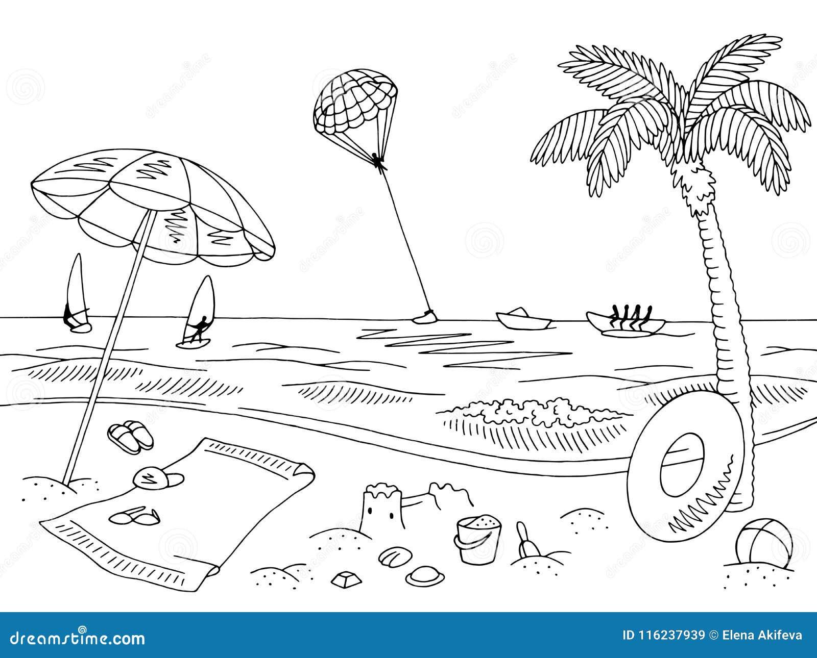 Sea coast beach graphic black white landscape sketch illustration