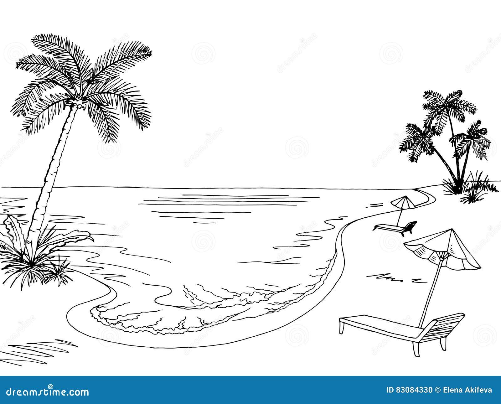 Beach chair and umbrella sketch - Sea Coast Graphic Black White Landscape Sketch Illustration Stock Photo