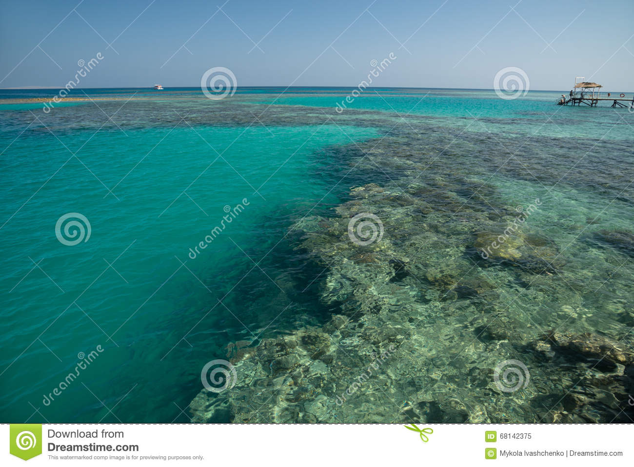 Sea with coral reef