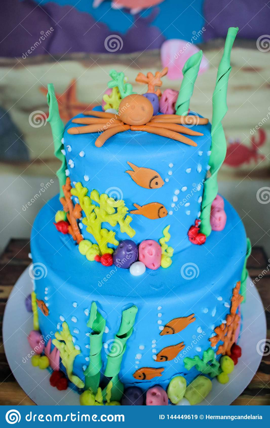 Admirable Sea Creature Theme Cakes For Children Party Stock Image Image Of Funny Birthday Cards Online Alyptdamsfinfo