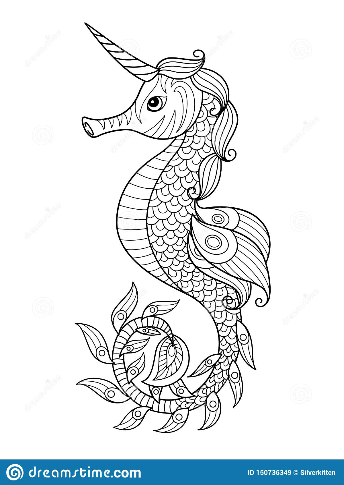 Sea Doodle Coloring Book Page Unicorn Seahorse Stock ...