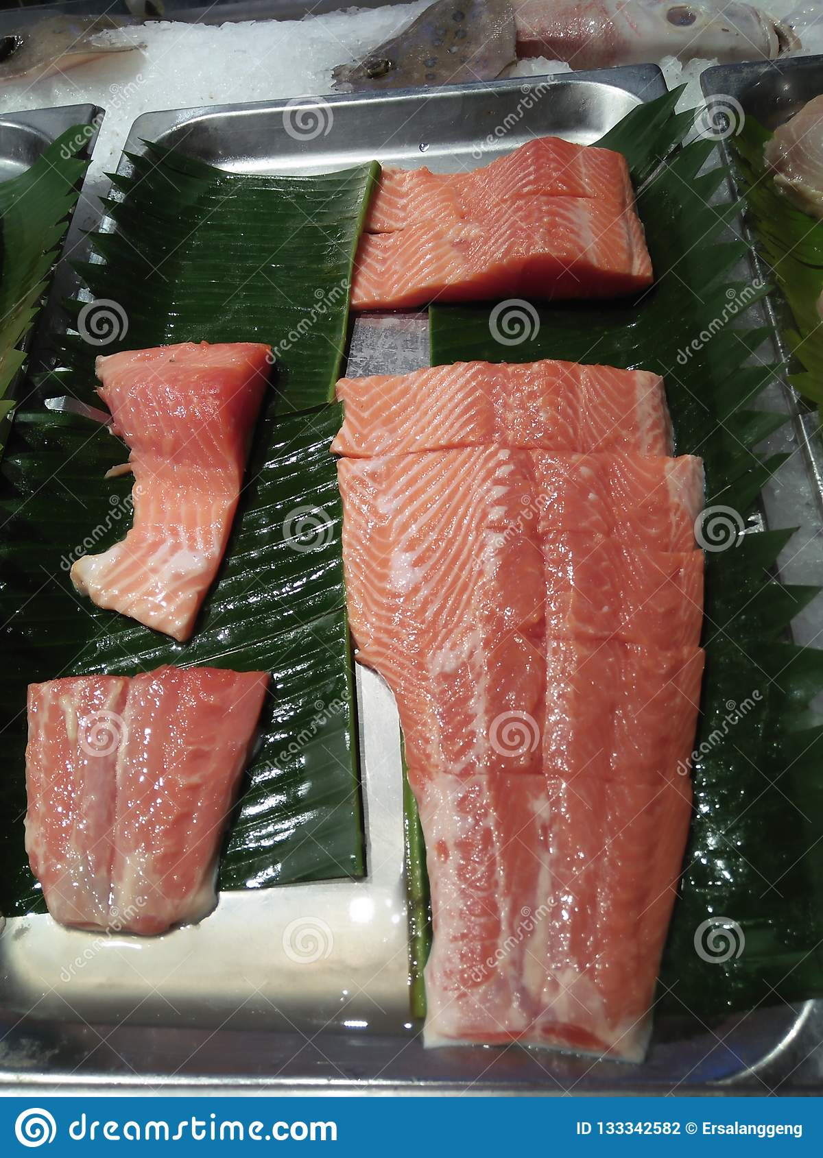 Fresh fish meat that has been cut for sale on the market