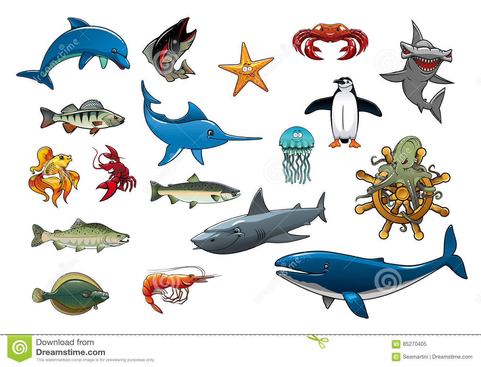 sea fish and ocean animals cartoon vector icons stock vector