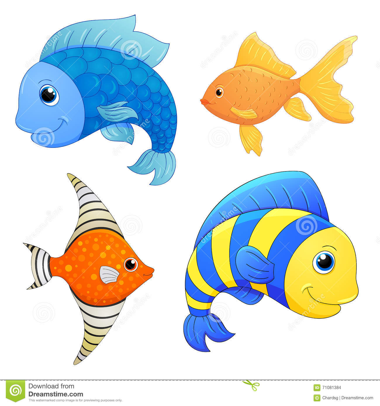 Sea fishes set vector fish cartoon cute character cartoon fish hand draw