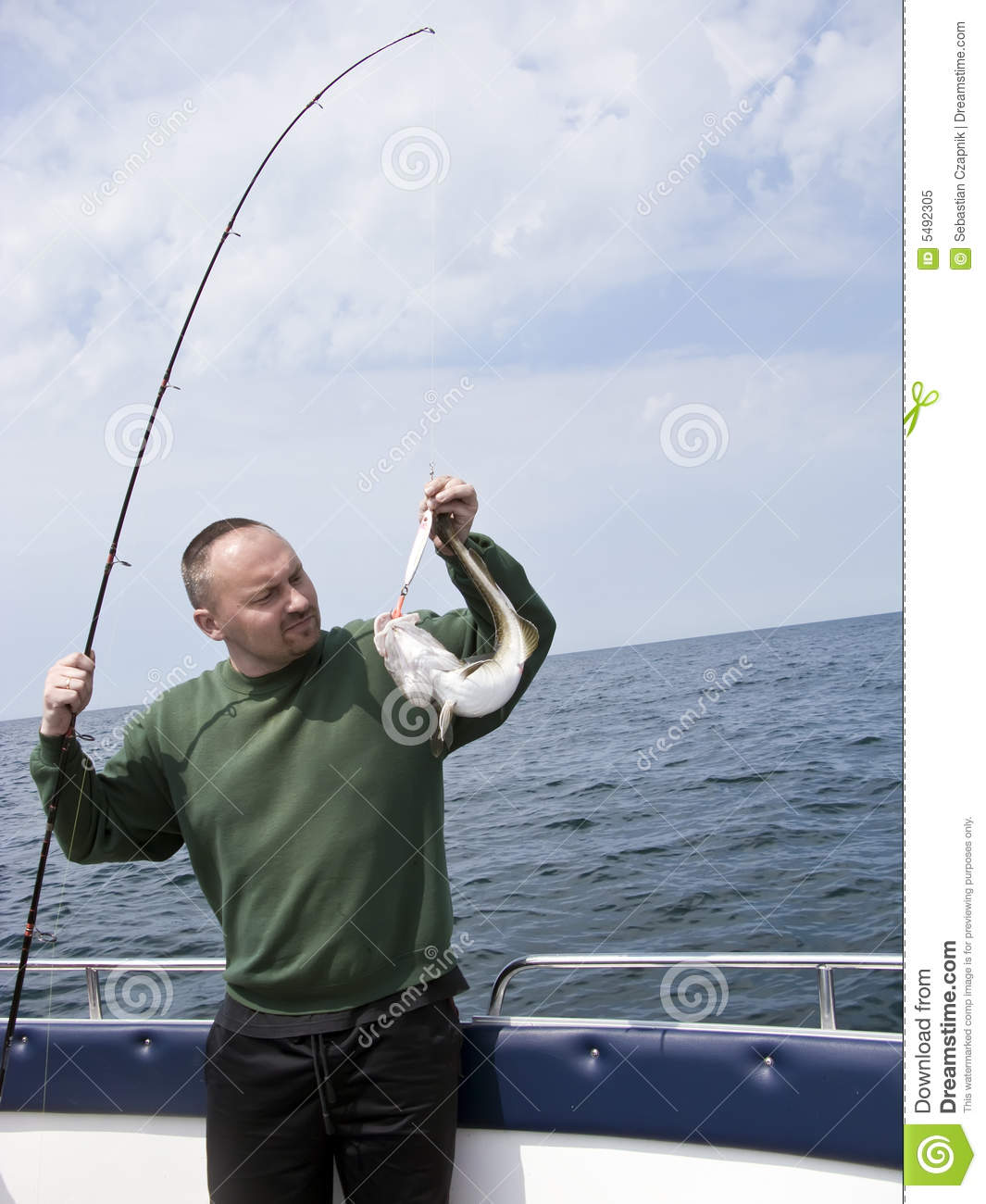 Sea fishing from motorboat