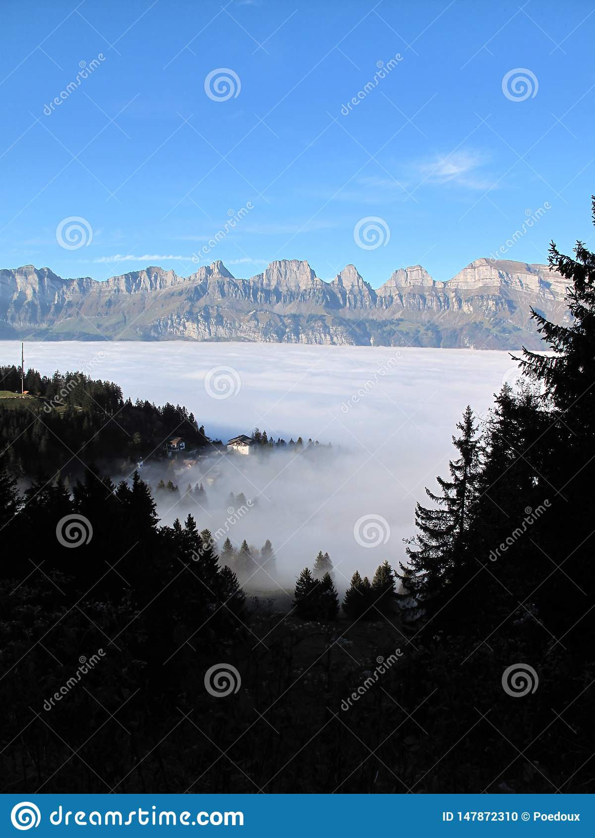 Sea of fog over flumserberg with a view of the churfirsten