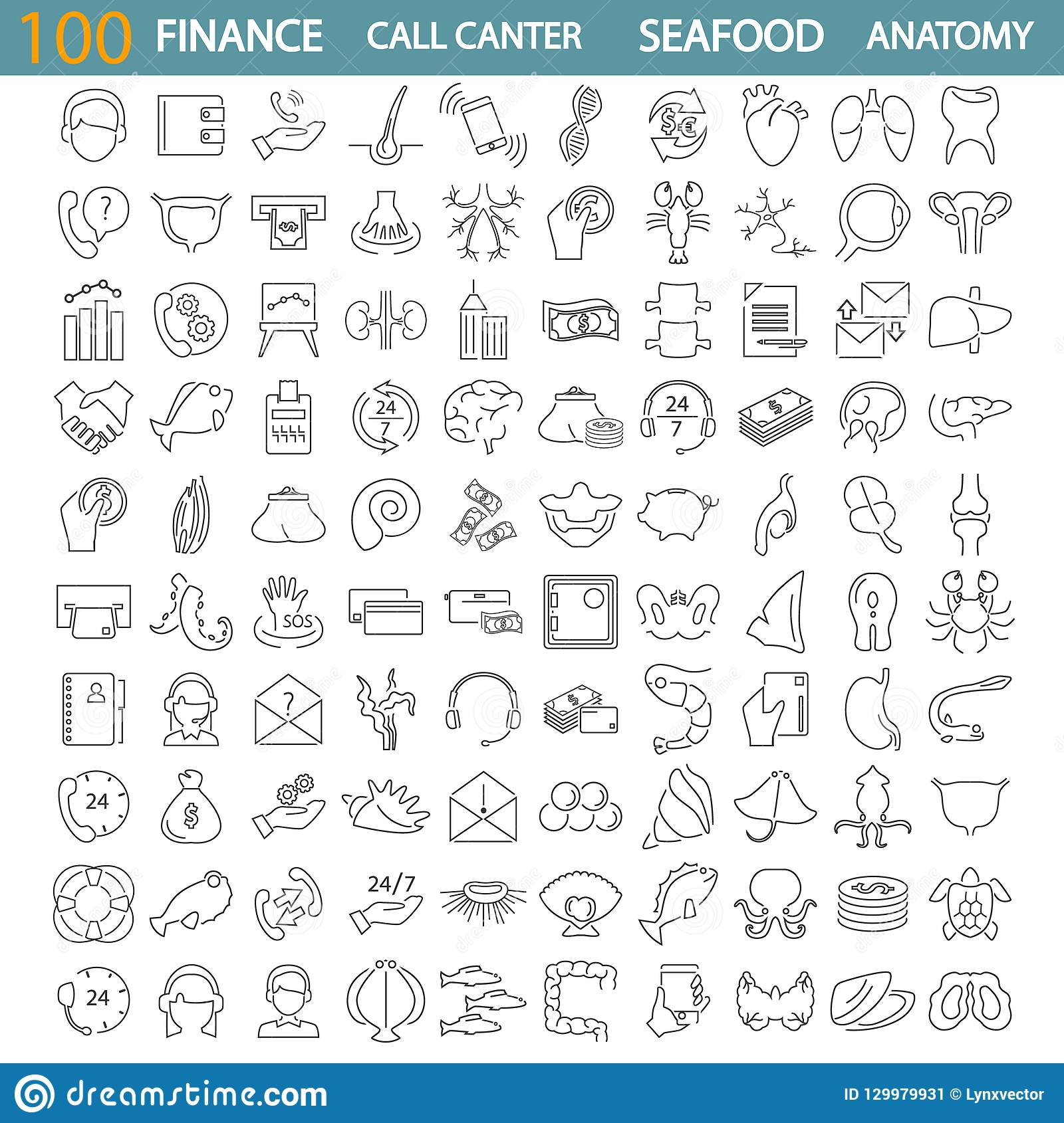 Sea food. Call center service. Banking and finance. Human anatony line icons set