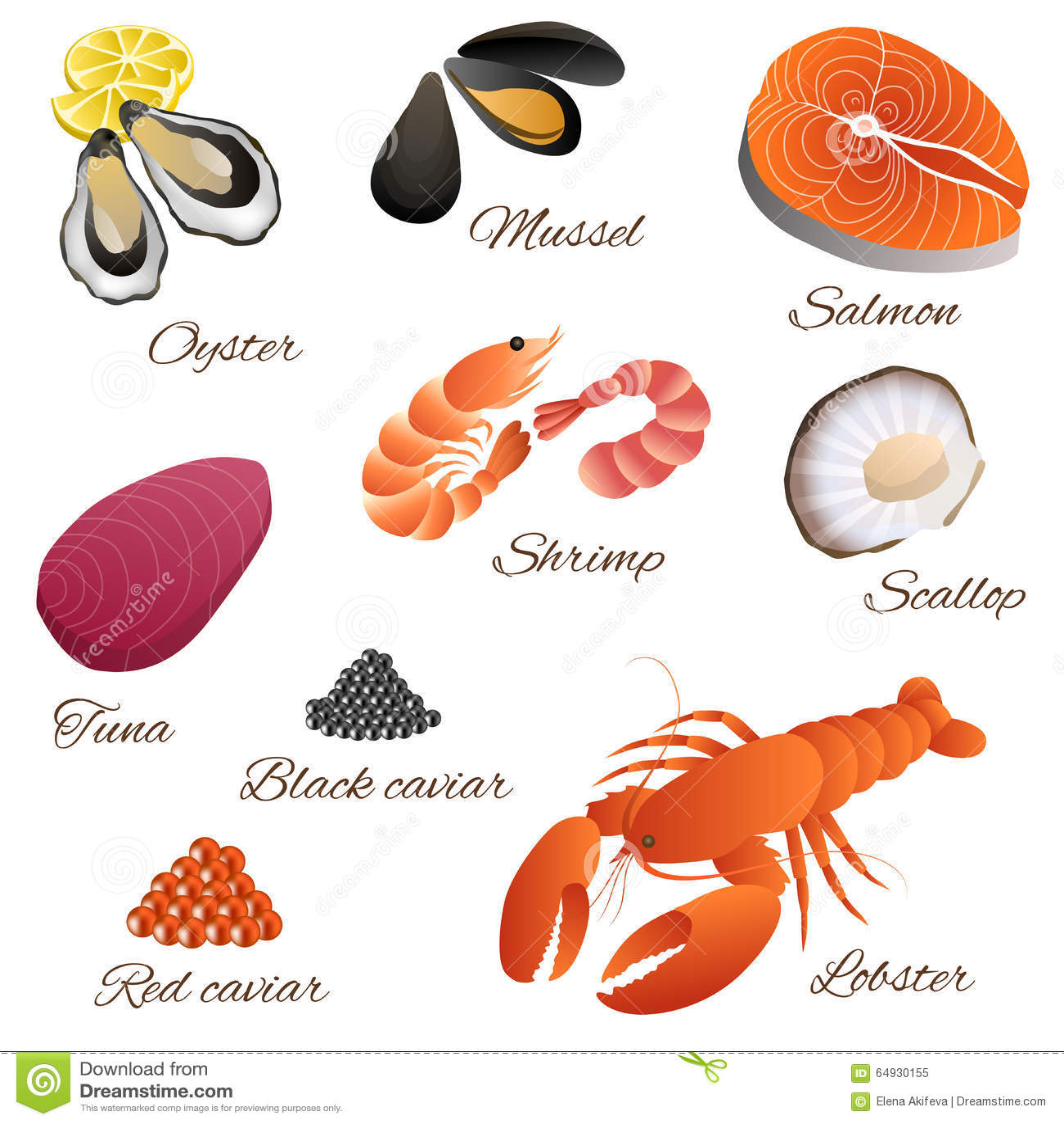 Sea Food Fish Mussel Shrimp Oyster Salmon Lobster Tuna Red Black Caviar Scallop Set Illustration ...
