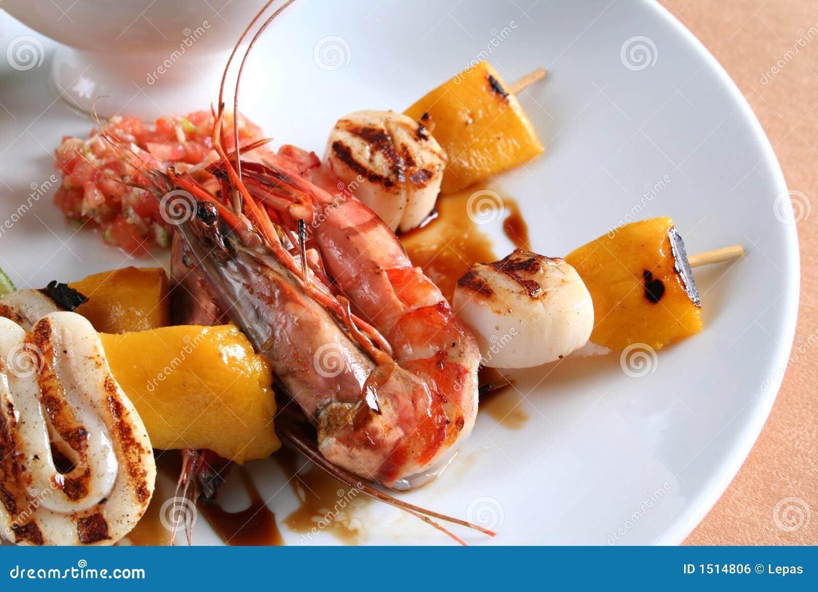 Sea food on gril