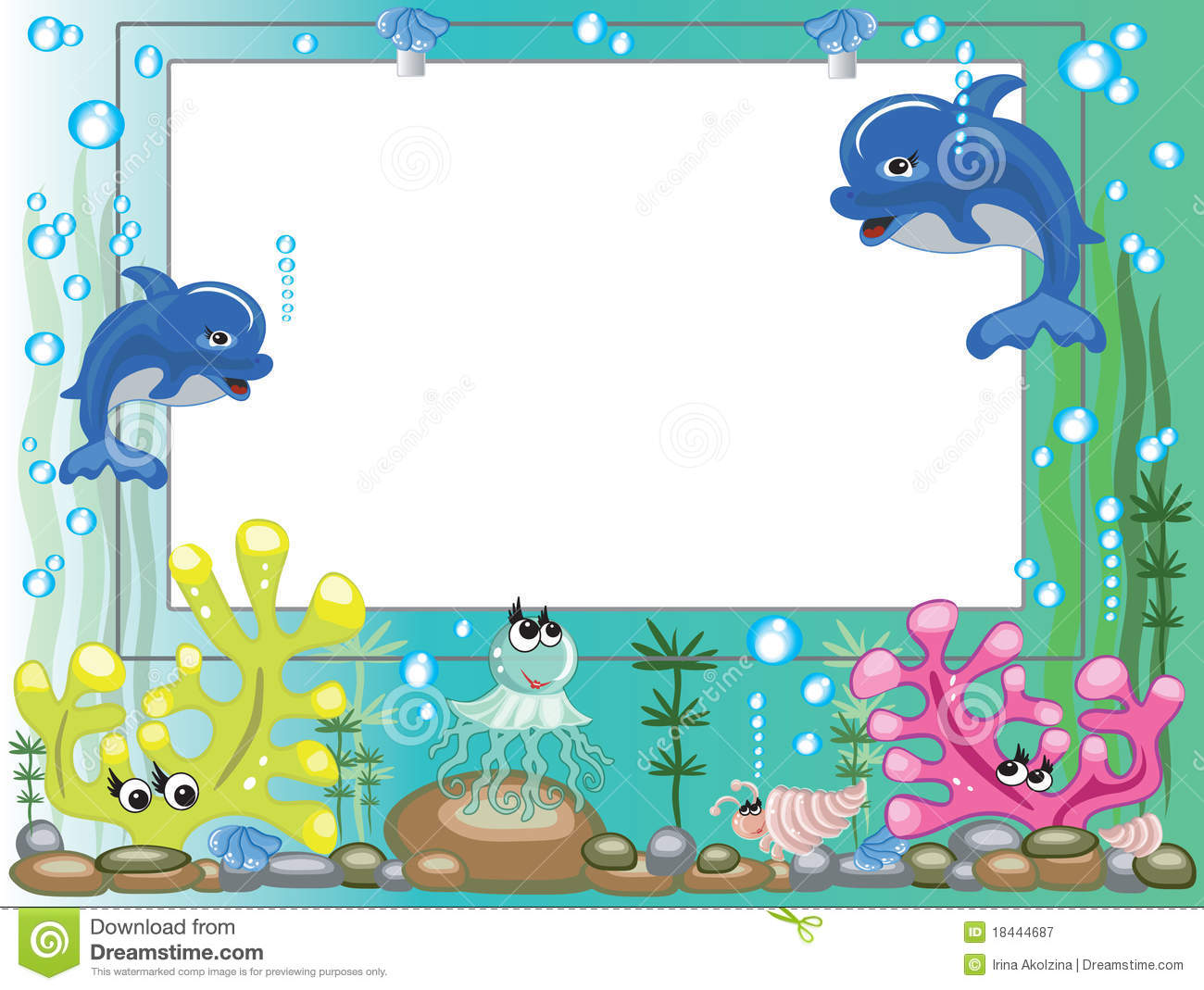 Frame Sea Jellyfish Color Jelly Bubble Yellow Animal Drawing Happy