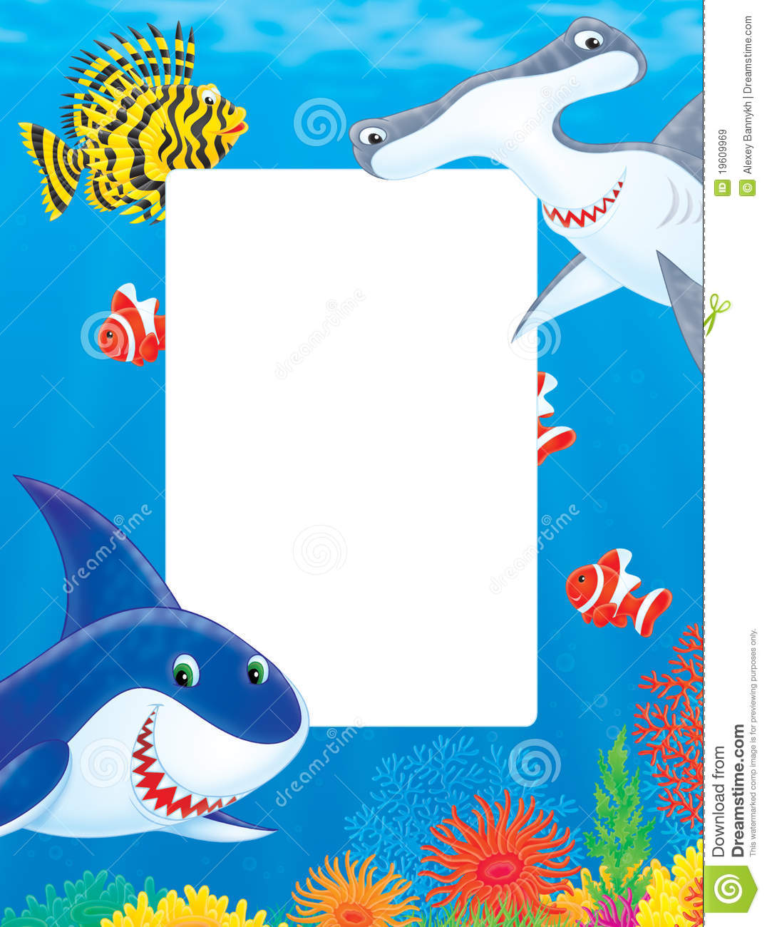 Sea Frame With Sharks And Fishes Stock Illustration - Illustration ...