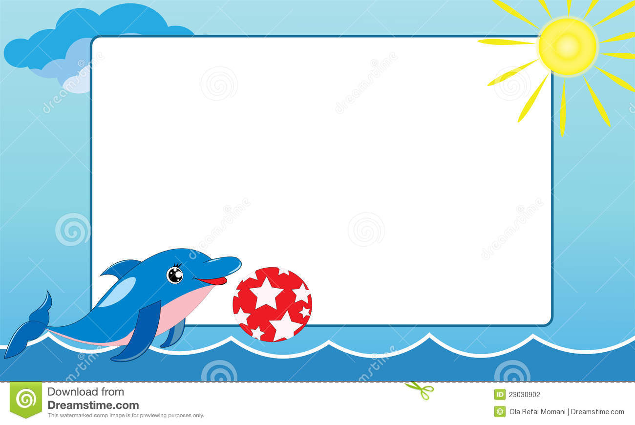 Sea Frame With Small Dolphin Illustration 23030902 - Megapixl