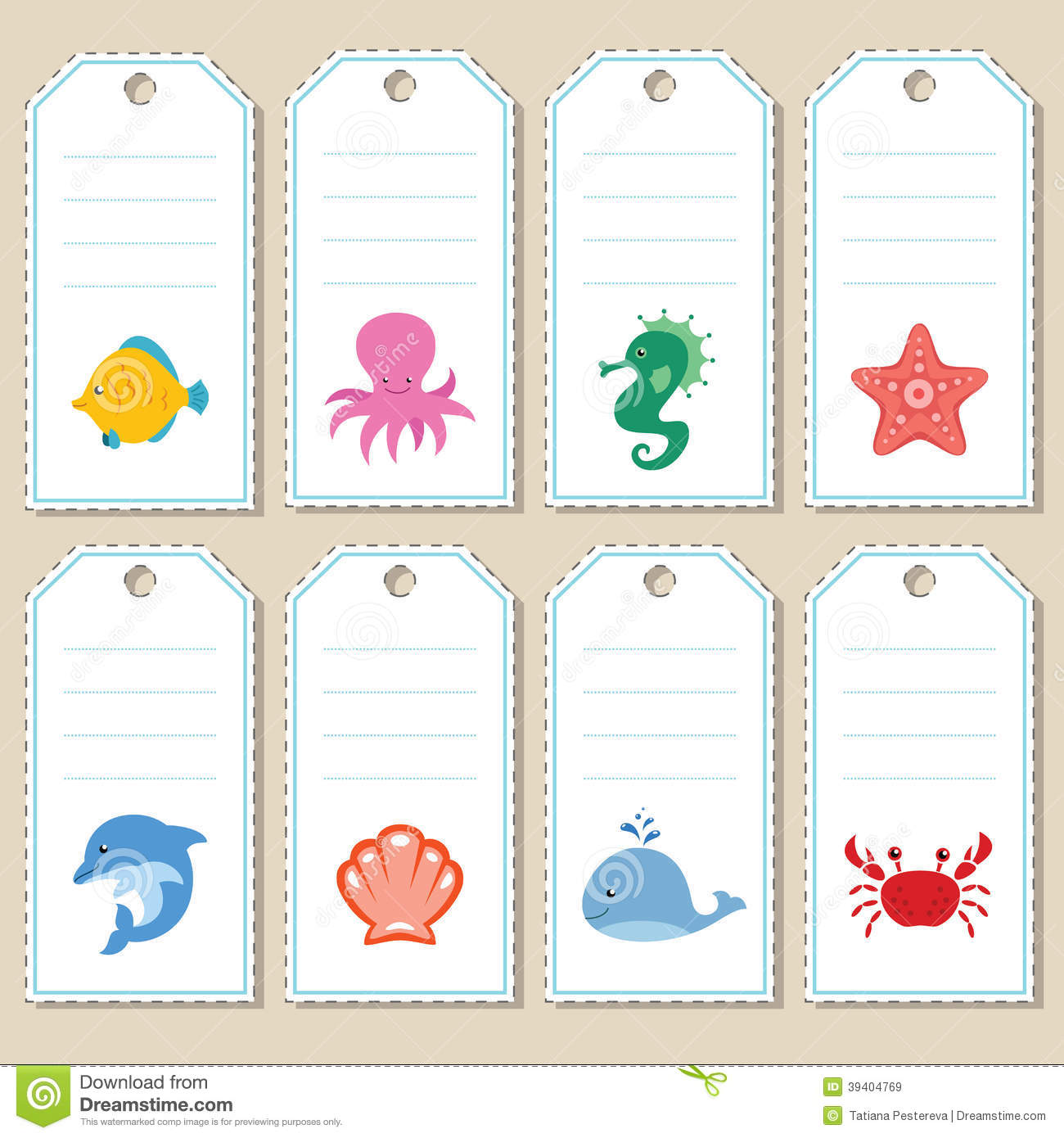 Gift tags with cartoon sea animals. Some blank space for your text ...