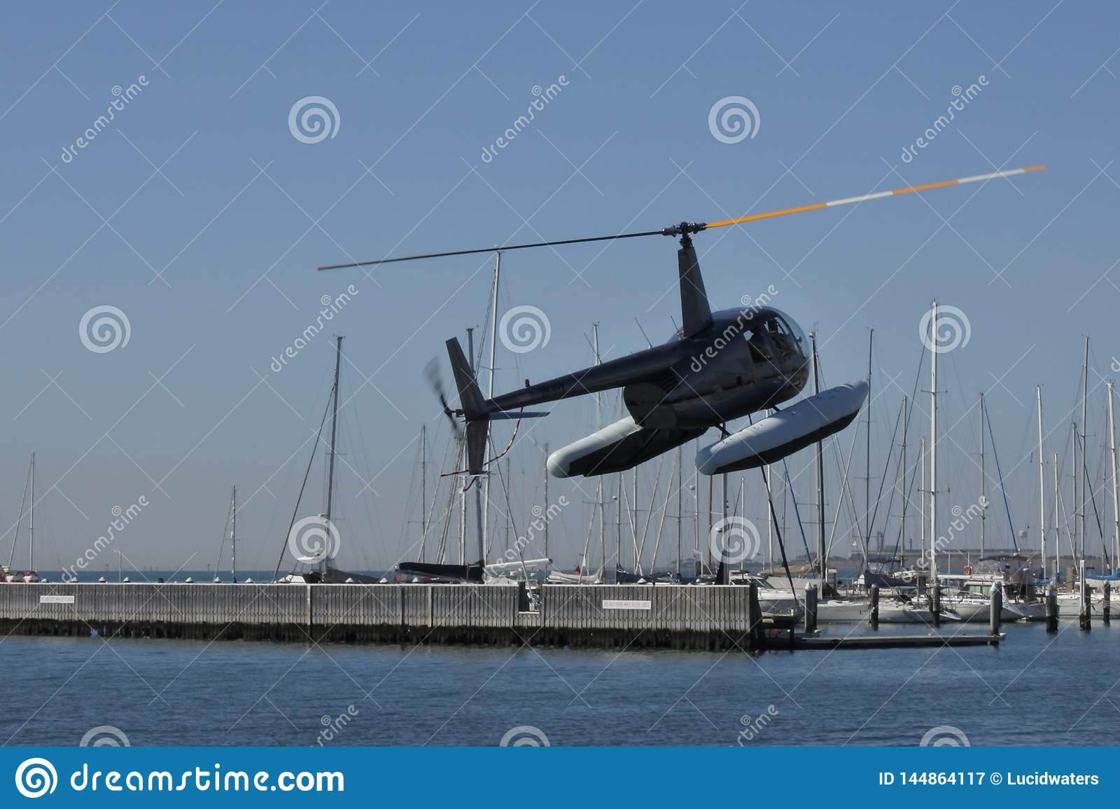 Sea helicopter tour take off
