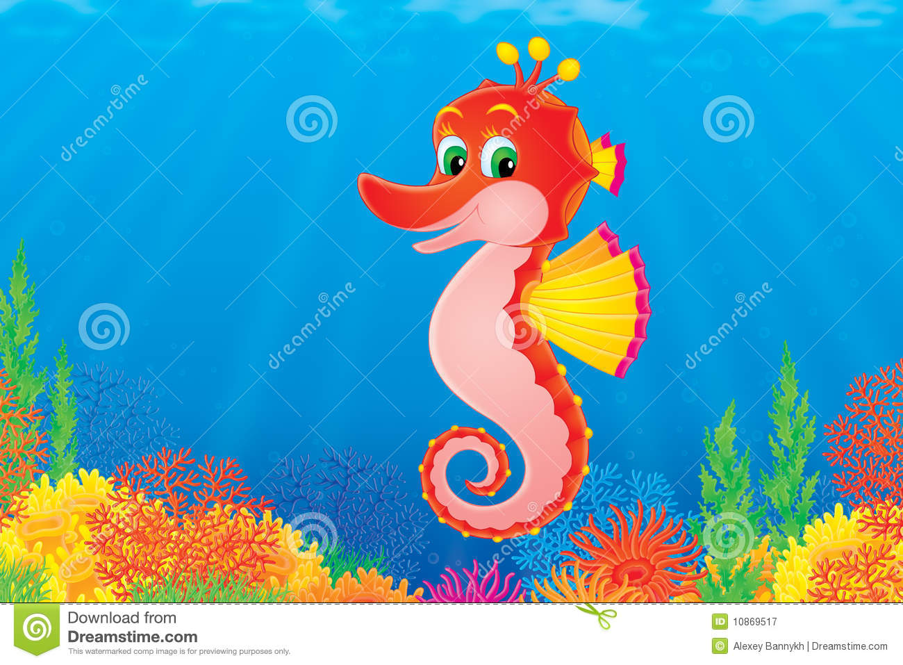 Funny sea horse is swimming against the colorful coral reef. This high ...