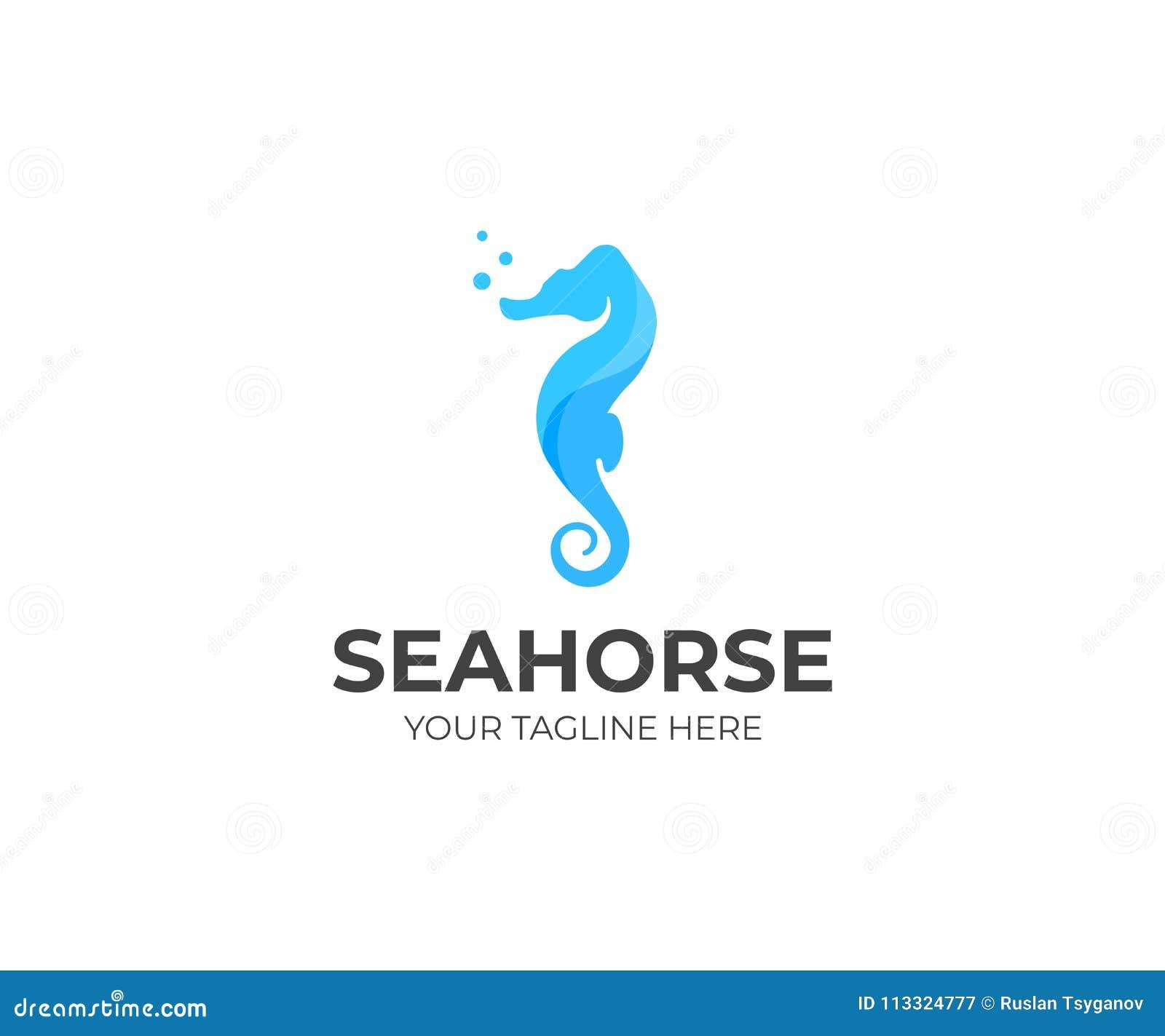 Sea Horse Logo Template Sealife Vector Design Stock Vector Illustration Of Seahorse Horse 113324777