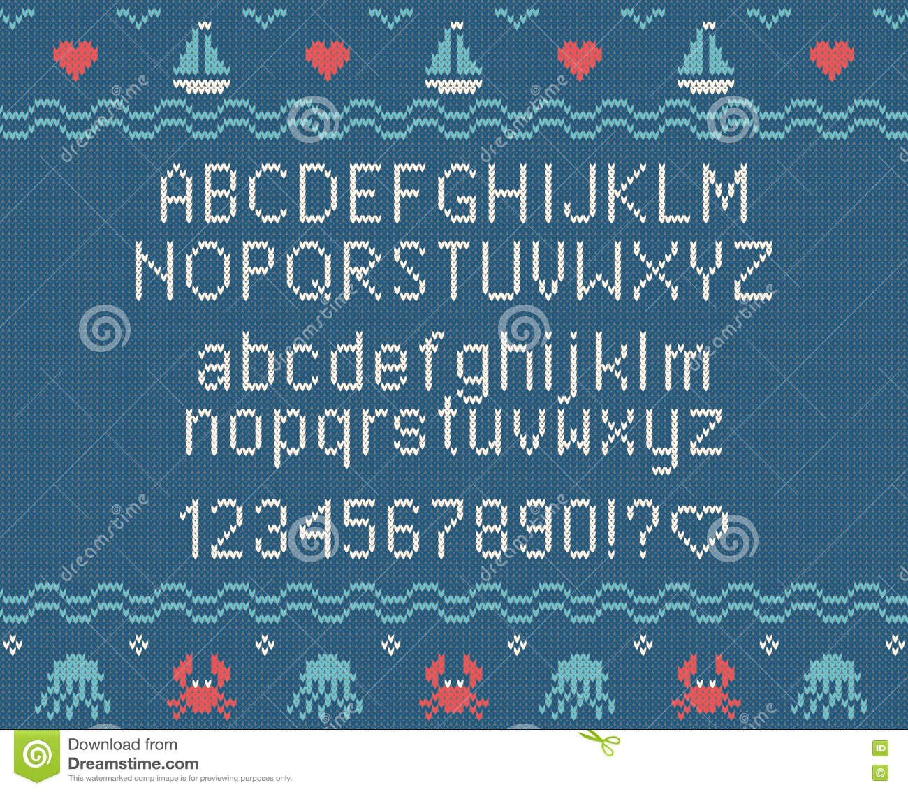 Sea Knitted Font. Knitted Latin Alphabet On Sea Theme Patterns ...