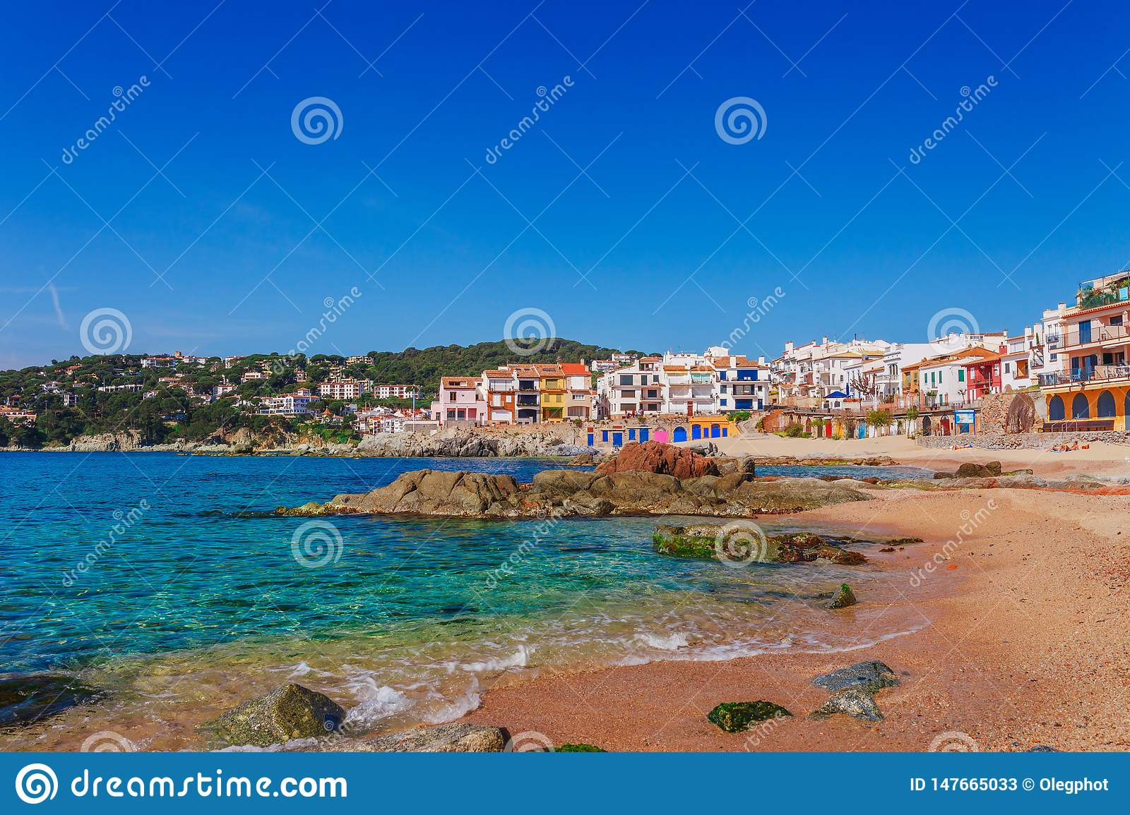 Sea Landscape With Calella De Palafrugell Catalonia Spain Near Of Barcelona Scenic Fisherman Village With Nice Sand Beach And Stock Image Image Of Barcelona Historic 147665033