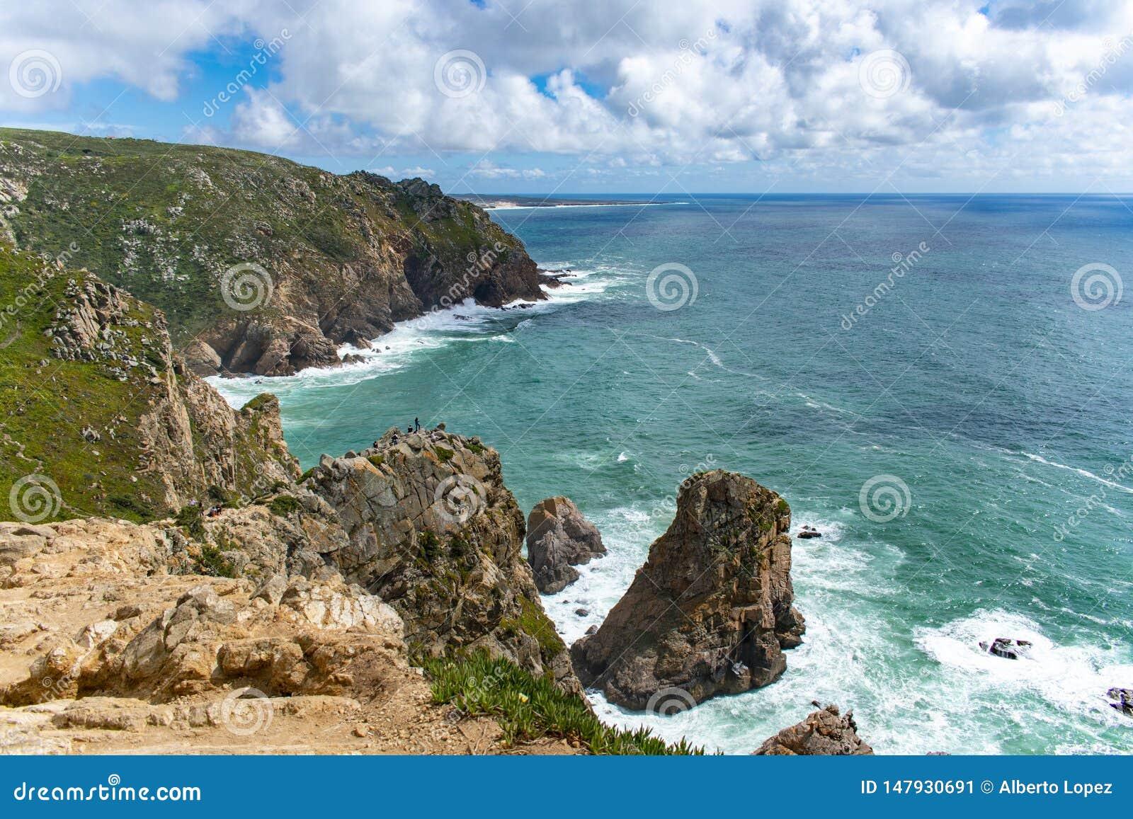 Sea landscape with high cliffs in Cabo da Roca