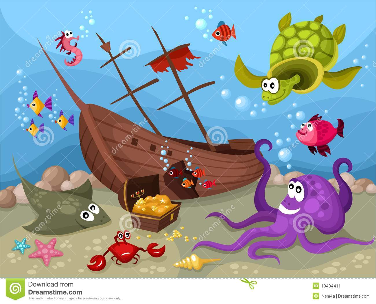 Download Sea life stock vector. Illustration of currency, cute - 19404411