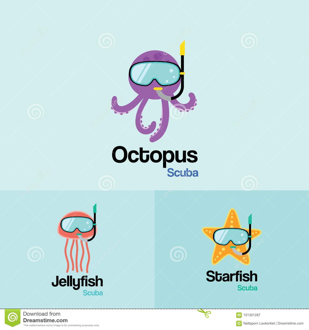 Sea Life Animal Scuba Logo Template Octopus Jellyfish Starfish With Diving Mask In Flat Design For And Snorkeling Equipment Shop