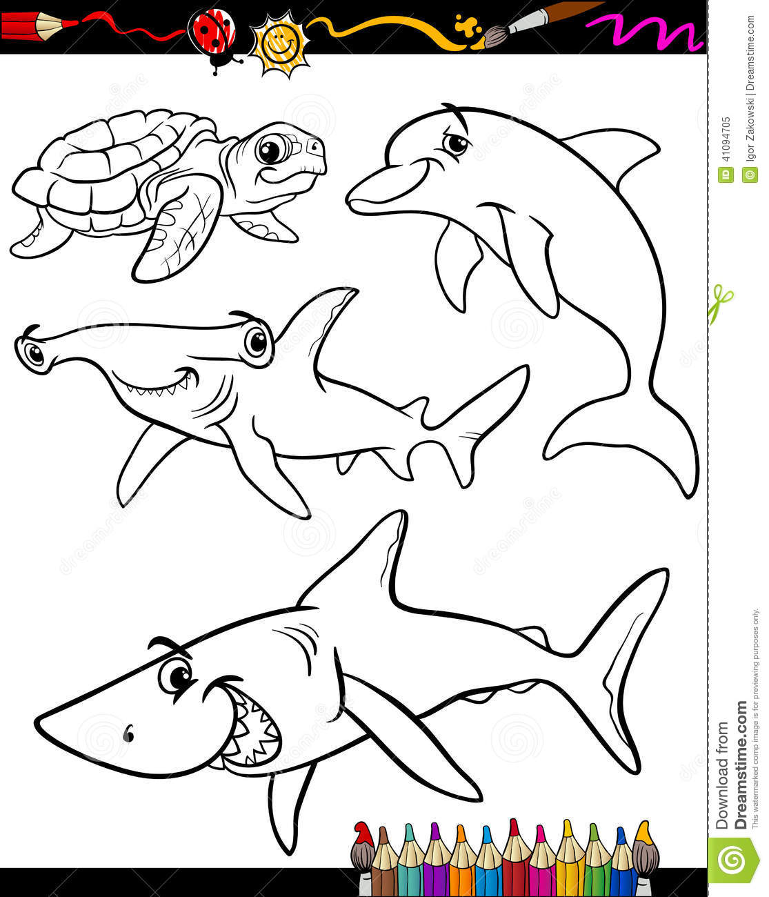 Sea Life Animals Cartoon Coloring Book Stock Vector