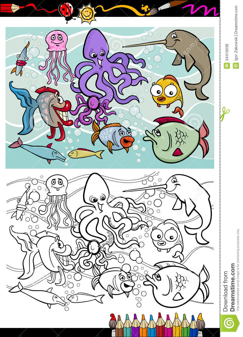 sea life animals group coloring book royalty free stock photos image 34416038. Black Bedroom Furniture Sets. Home Design Ideas