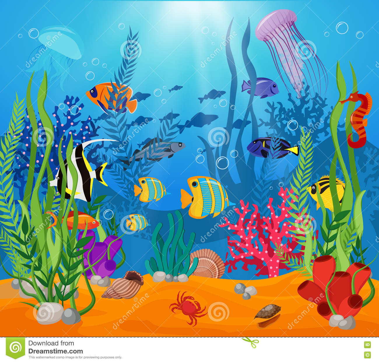 Sea Life Animals Plants Composition Stock Vector - Image ...