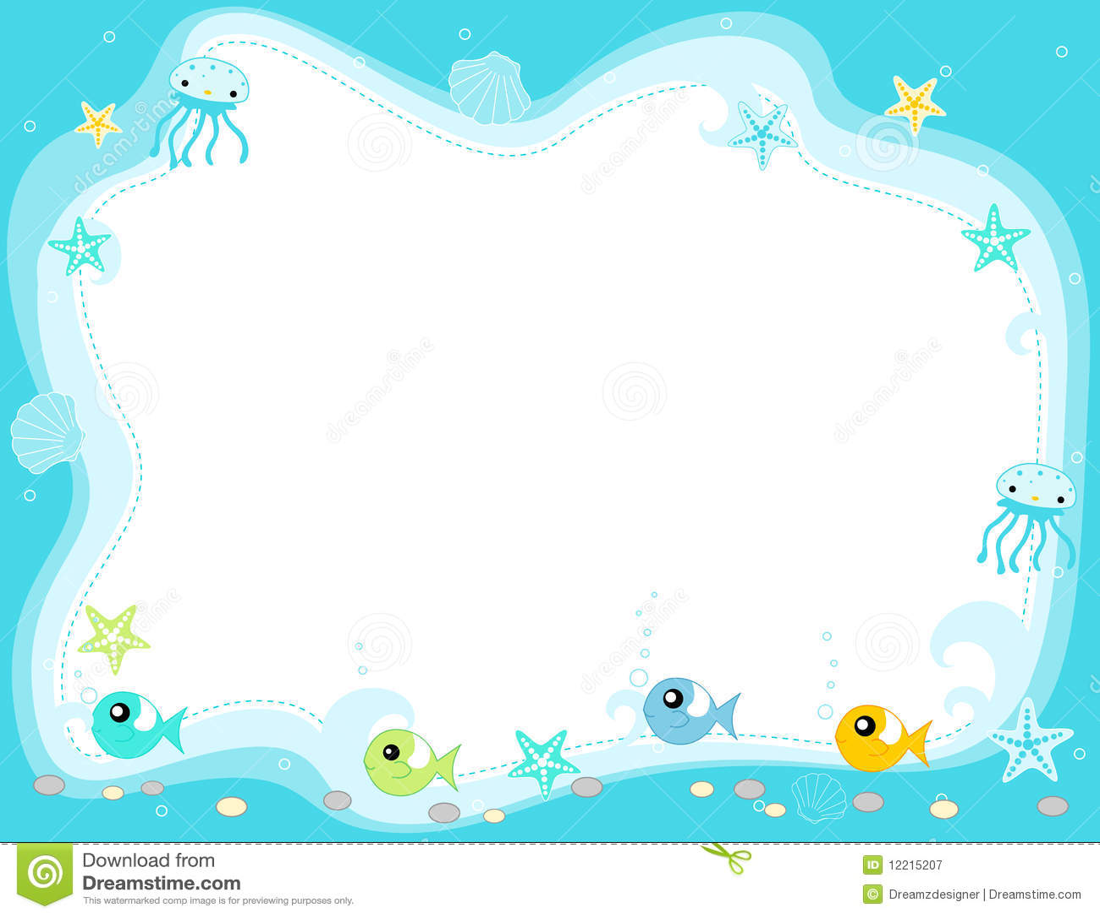 Sea Life Border Frame Illustration 12215207 Megapixl