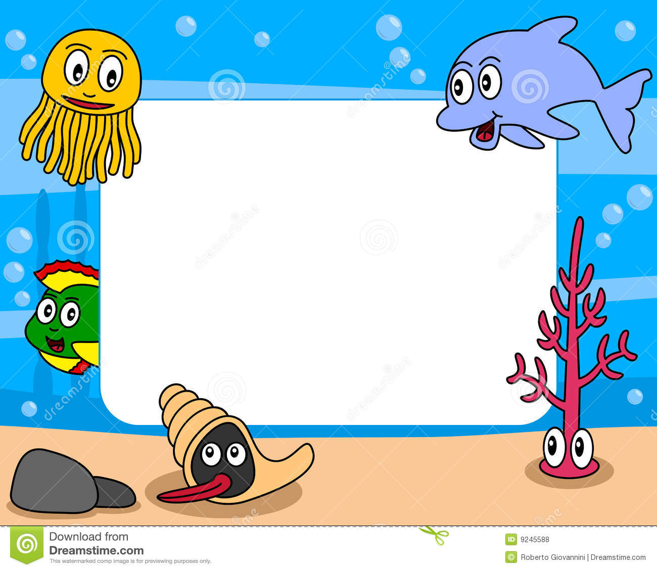 Sea Life Photo Frame 1 Stock Vector Illustration Of Bubbles 9245588
