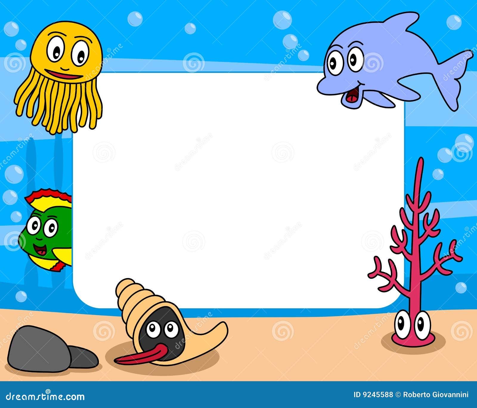 sea life photo frame  1  stock vector illustration of seaweed vector free download seaweed illustration vector