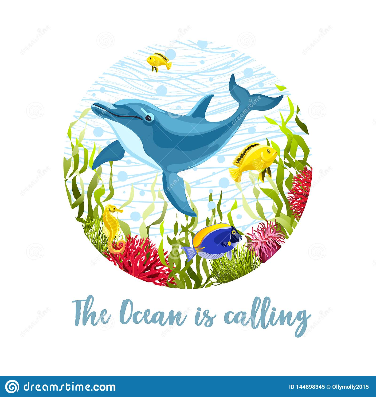 8be805e4dcc Sea life composition for T-shirt design isolated on white background.  Cartoon dolphin and fishes in seaweeds and corals vector illustration.