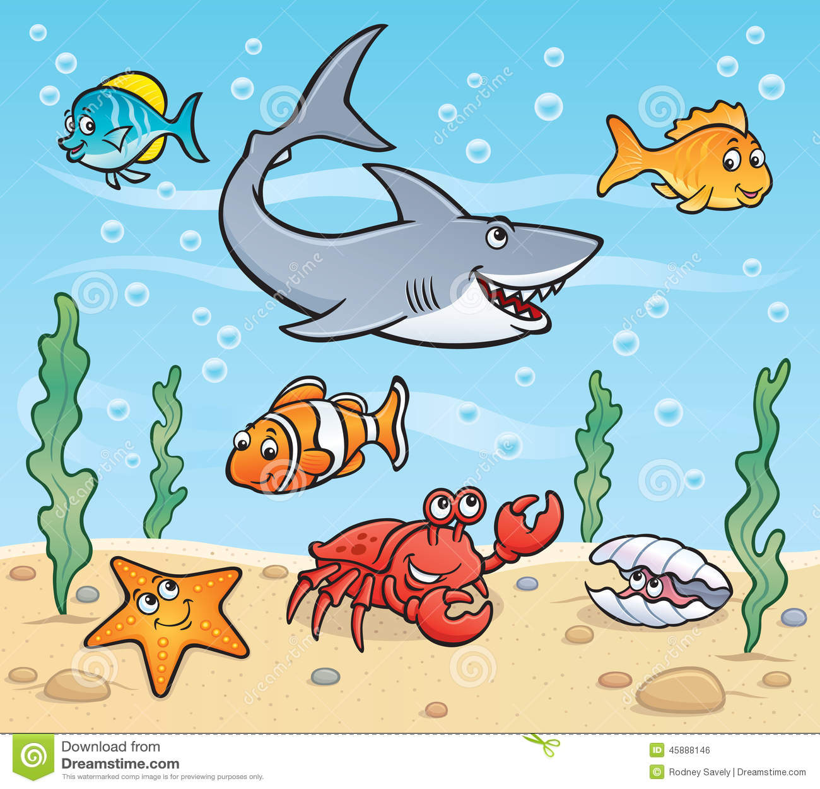 sea life scene stock illustration image 45888146 Seahorse Clip Art clown fish pictures clip art