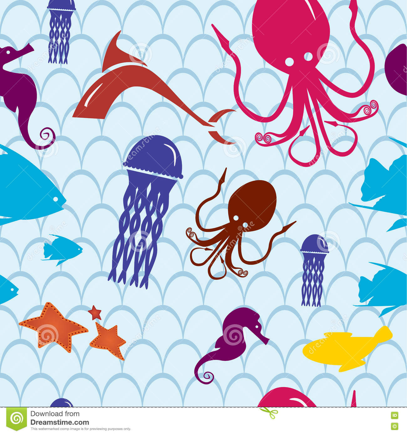 sea life seamless pattern sea life illustration for kids in