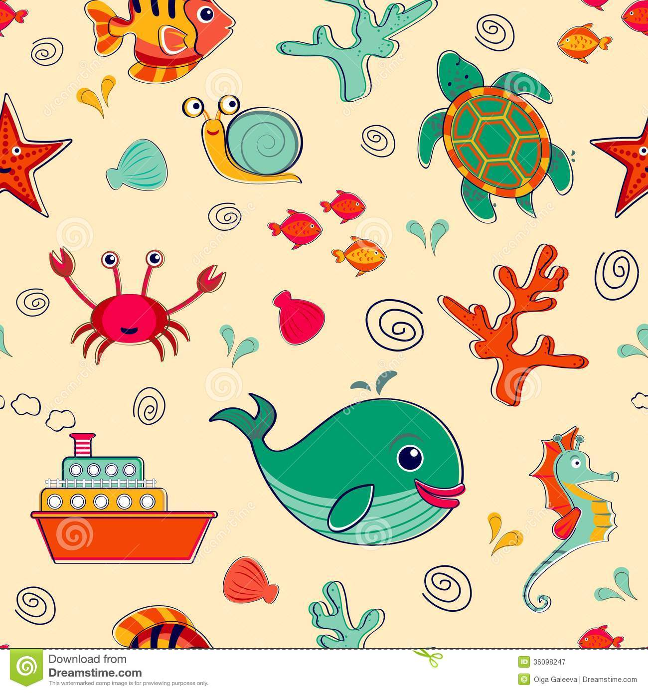 sea life seamless pattern stock vector  image of colorful