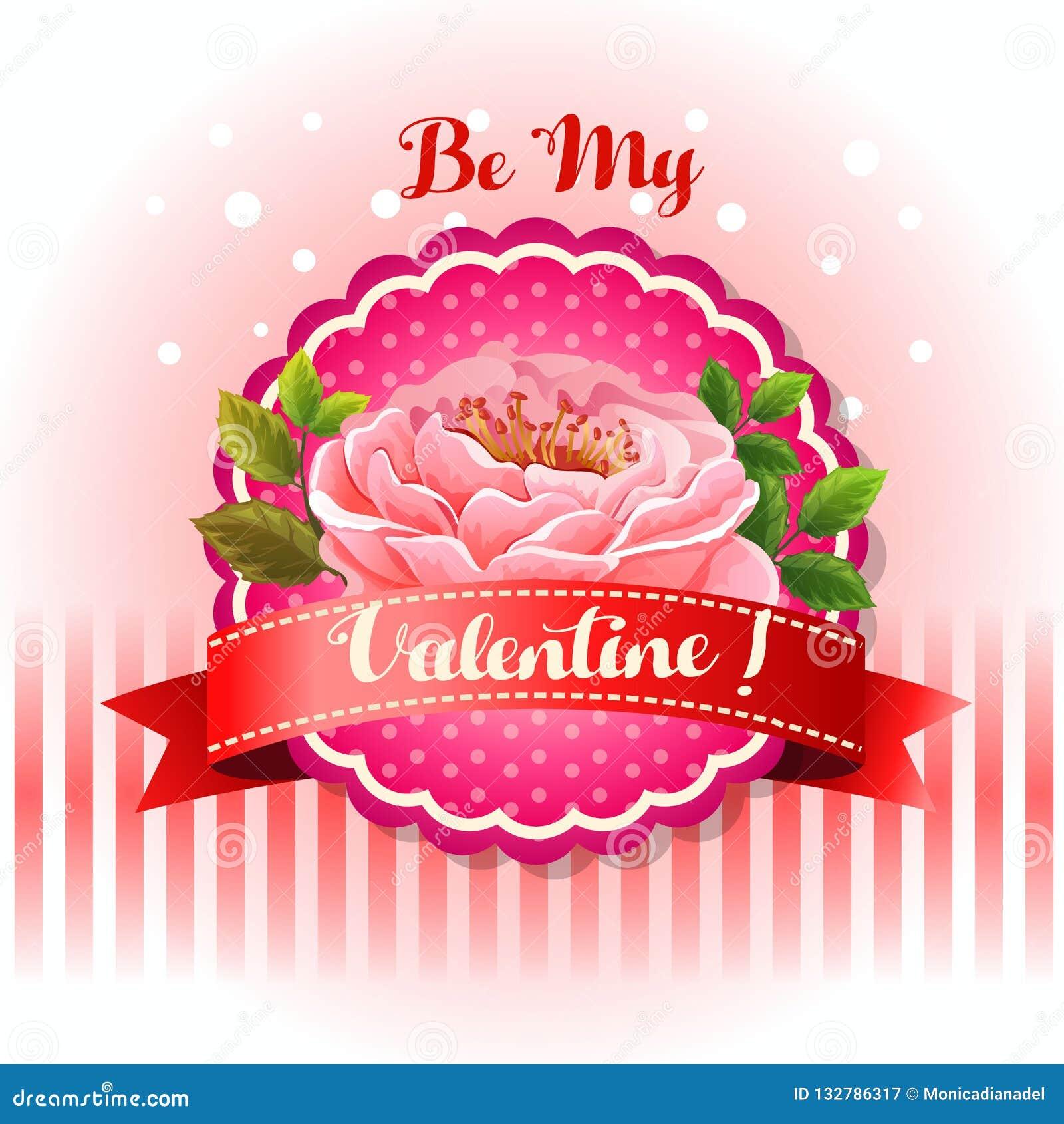 Sea mi flor hermosa de la tarjeta de la tarjeta del día de San Valentín
