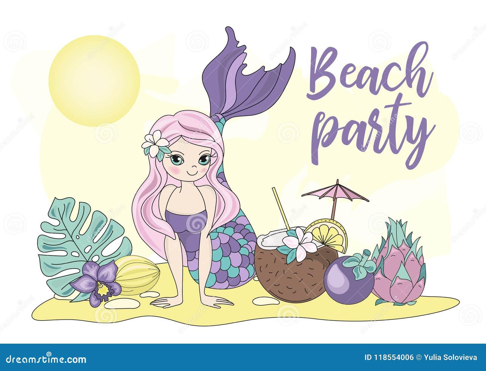 Sea Ocean Tropical Summer Vector Colorful Illustration BEACH PARTY ...