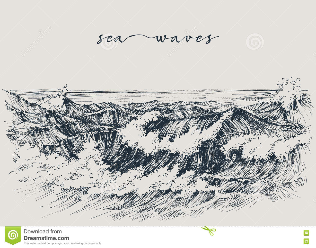 Sea Or Ocean Waves Drawing
