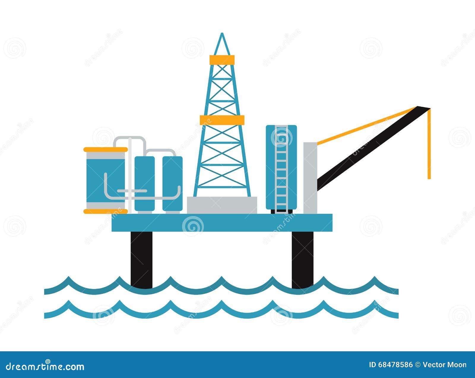 sea oil rig offshore platform technology flat vector oil rig derrick clipart Oil Derrick Clip Art Transparent