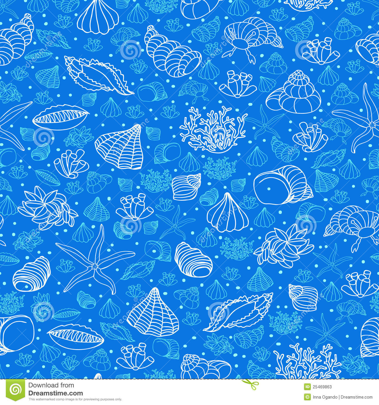 Abstract blue background with seashells, starfish and algae. Concept ...