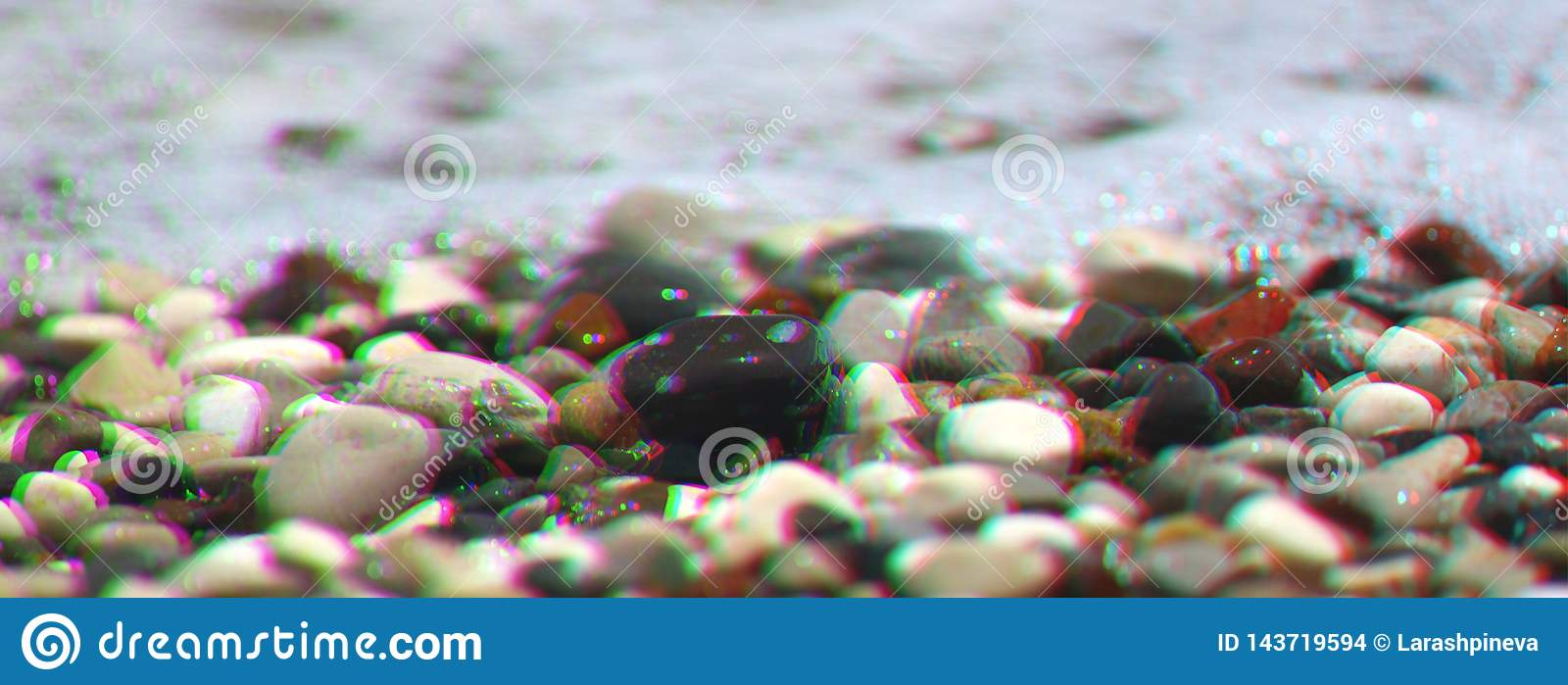 Sea pebbles with foam wave on beach. Anaglyph, glitch shifted effect