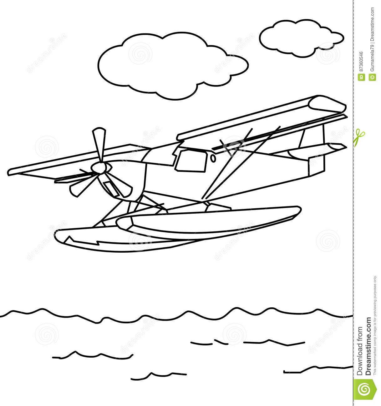 Sea plane coloring page stock illustration. Illustration ...